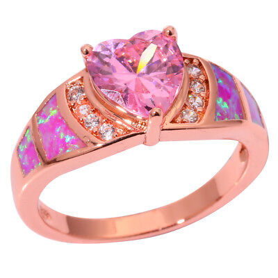 Hot Pink Opal Pink Topaz Silver Rose Gold Plated Women Jewelry Ring #6-9 - Hot Pink Plates