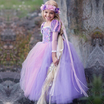 Kids Girls Princess Sofia Rapunzel Dress up Costume Cosplay Party Long Gown Hot