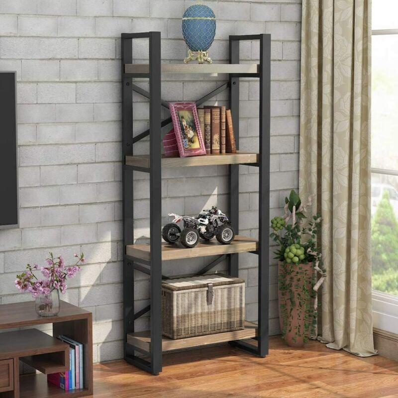 Tribesigns Industrial Solid Wood Bookshelf 4-Tier Bookcase,4 Shelf Display Shelf
