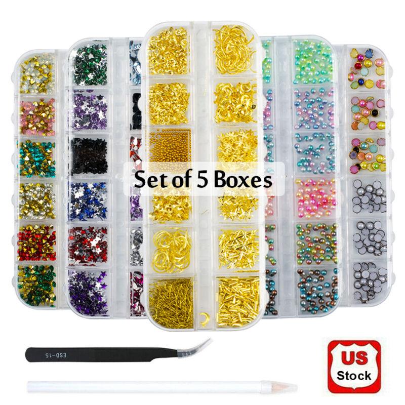 Set Of 5 Mix Rhinestones 3d Nail Art Decorations Tips Glitter Diamond Ab Crystal
