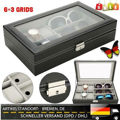 Aufbewahrungsbox für 6 Armbanduhren Uhrenbox und 3 Sonnenbrillen Brillenkoffer E
