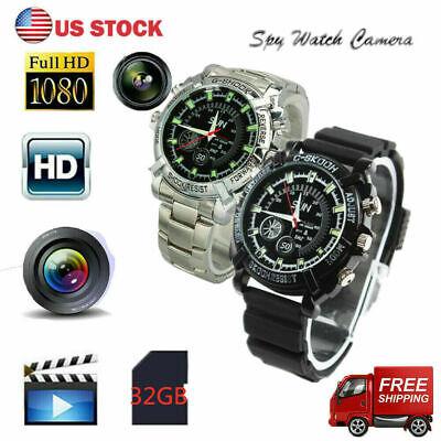 Waterproof 1080P HD Hidden Camera Watch Security Spy Cam Video Recorder 32G US