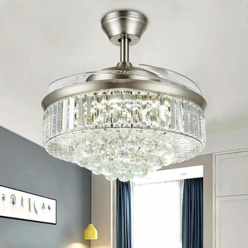 """42"""" Invisible Ceiling Fan Light Crystal Chandelier Pendant Lamp w/Remote - Silver 9"""
