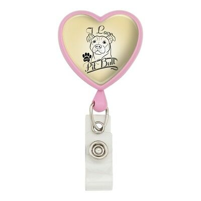 I Love My Pit Bull Heart Lanyard Retractable Reel Badge ID Card Holder ()