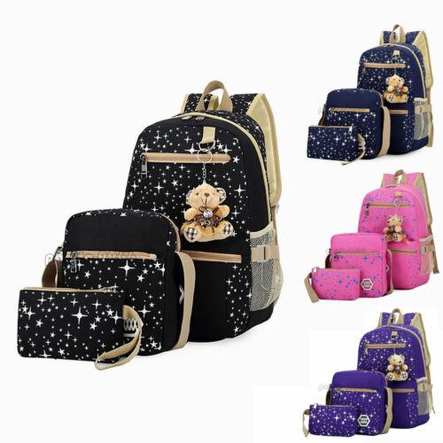3Pcs Set Women Canvas Bag Backpack Girl School Shoulder Bag