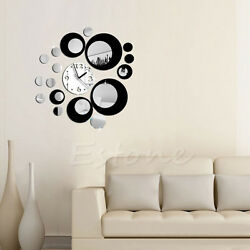 Circles Acrylic Mirror Style Wall Clock Removable Decal Art Sticker Decor Black