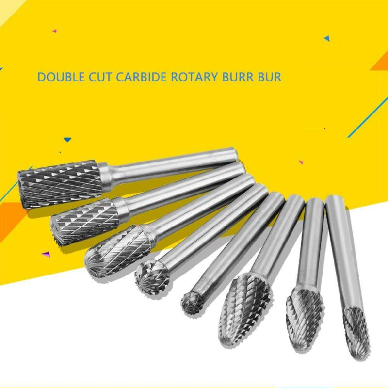 8pcs 1/4in Tungsten Carbide Burr Rotary Drill Bits Tools Cutter Set Shank