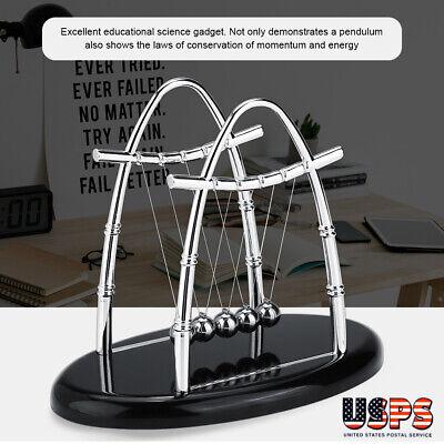 Newtons Cradle Steel Balance Balls Science Pendulum Fun Desk Decor Physics Us
