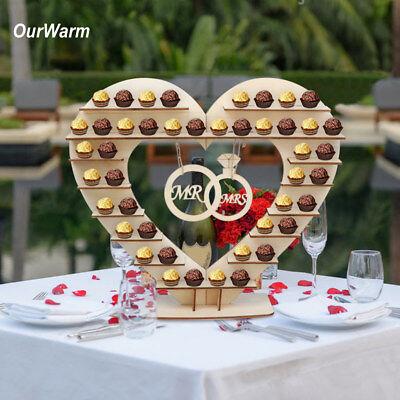 Wooden Heart Chocolate Dessert Display Holder Wedding Ferrero Rocher Stand Decor