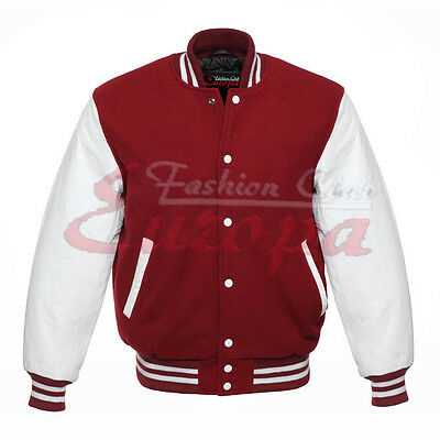 Maroon Varsity  Letterman Wool Jacket with white Real Leather Sleeves XS-4XL - Wholesale Letterman Jackets