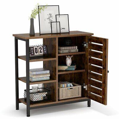 Floor Standing Cabinet for Living Room Kitchen Vintage Brown Sideboard w Shelves