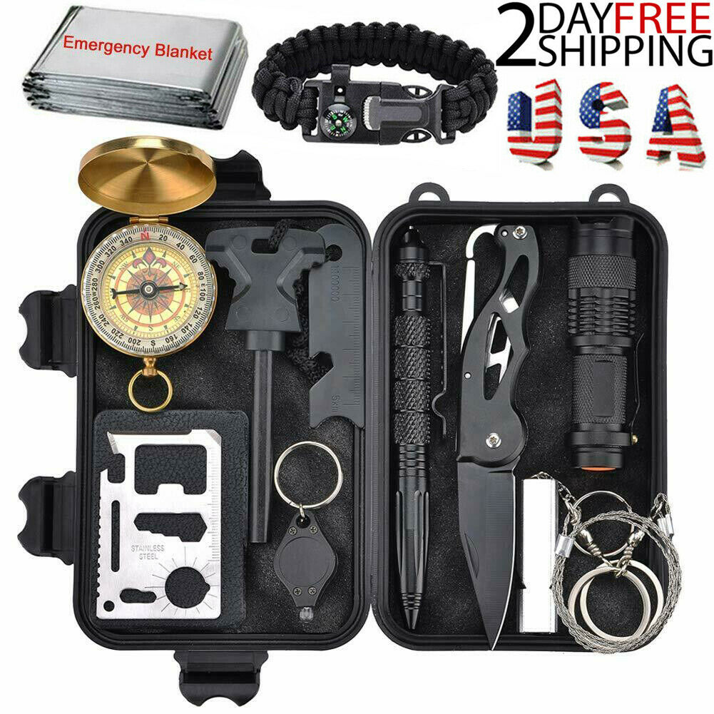 12 In 1 Outdoor Camping Survival Gear Kits Military Tactical