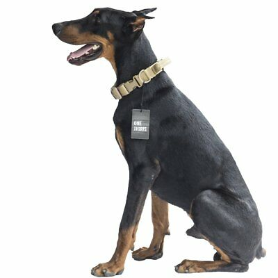 OneTigris Tactical Nylon Dog Collar with Handle and Plastic Buckles (Tan)