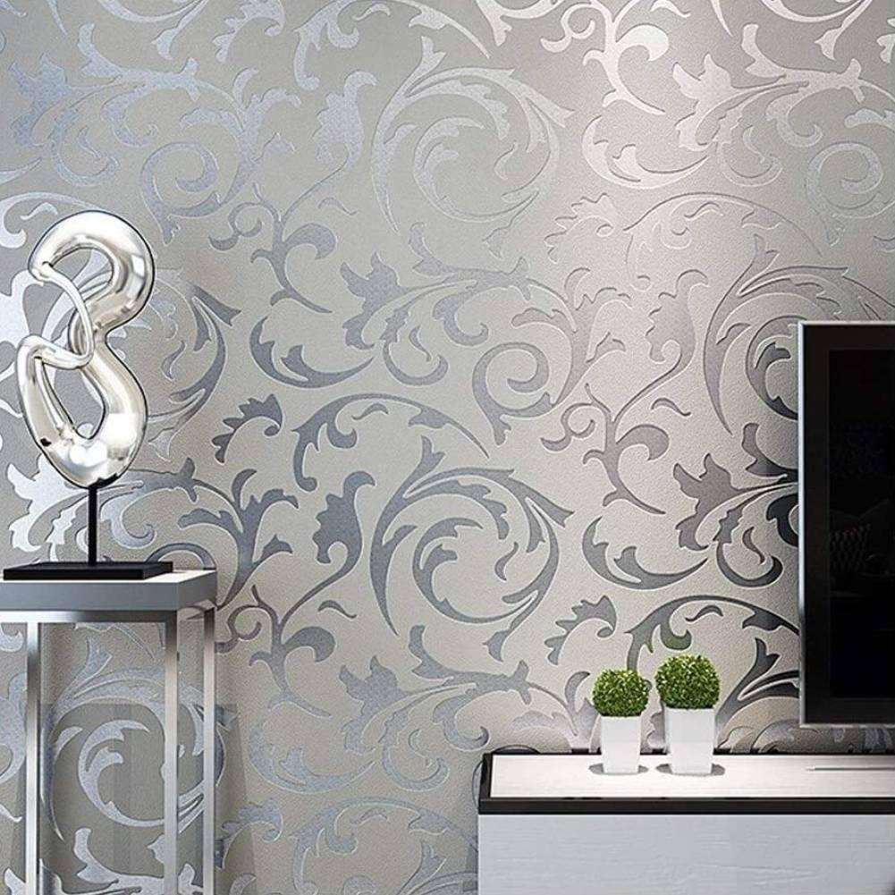Home Decoration - 3D Home Decor Metallic Textured Damask Embossed Wallpaper Soft Silver Glitter UK