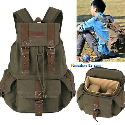 Men's Waterproof Canvas DSLR Camera Bag Padding Case Tarvel Backpack For Canon