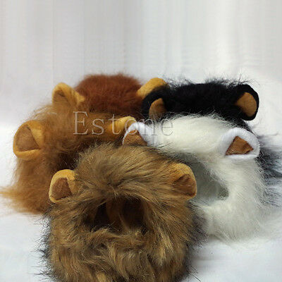 Pet Halloween Costumes Lion (Furry Pet Hat Costume Lion Mane Wig For Cat Halloween Dress Up With Ears)