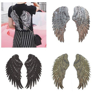 (1Pair Decor Iron-On Embroidered Patch large Angel Wings Applique Motif Sequins)