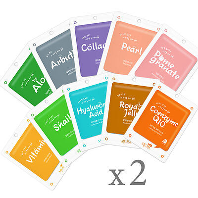 Us 20Pcs Korean Essence Facial Mask Sheet  Moisture Face Mask Pack Skin Care