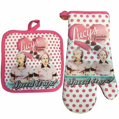 I Love Lucy Chocolate Factory Pot Holder & Oven Mitt Set