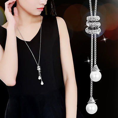 Cheap Long Fake Pearl Necklaces (Fashion Rhinestone Faux Pearls Pendant Long Necklace Women Sweater Chains)