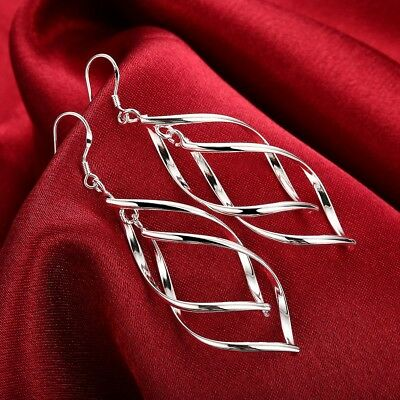 Womens Silver Twist Spiral Long Drop Dangle Charm Earrings #E27