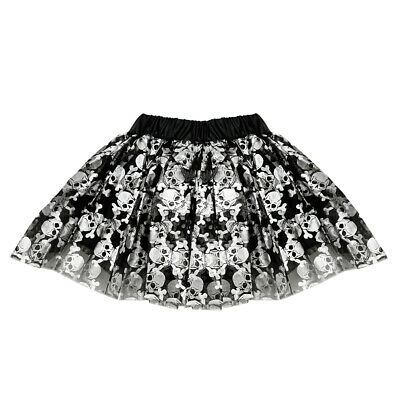 Rock Girl Costume (Skull Crossbones Tulle Tutu Lined Skirt - Girl Punk Rock, Gothic, Pirate)