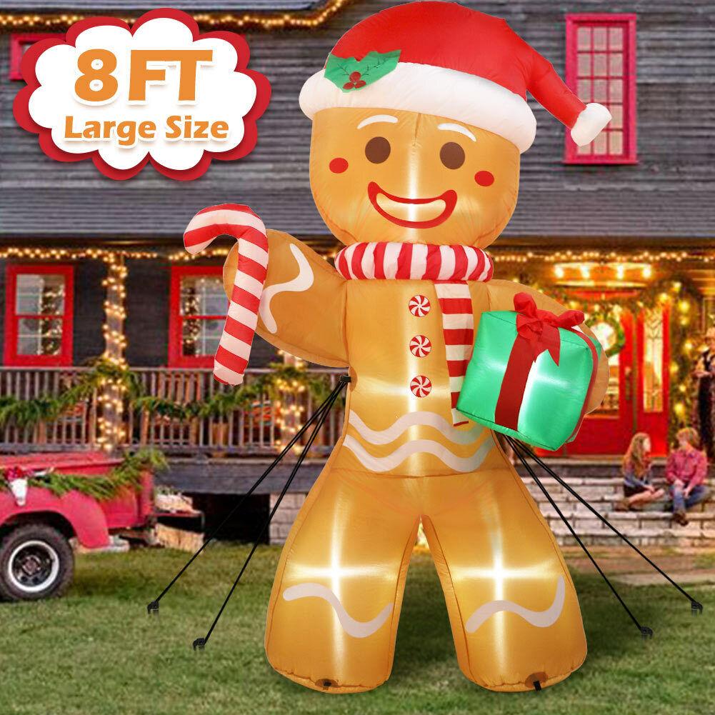 8ft Inflatable Christmas Santa Claus Gingerbread Man Decoration Outdoor Xmas Ebay