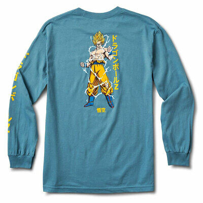 Primitive x Dragon Ball Z Super Saiyan Goku Men's Long Sleeve T Shirt Slate Blue Dragon Mens T-shirt