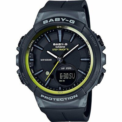 Casio Baby-G Black Step Counter Watch Ladies Alarm Chronograph BGS-100-1AER