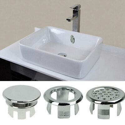 10pcs Cover Drain Cap Sink Durable Overflow Ring Plastic Round Silver Kitchen