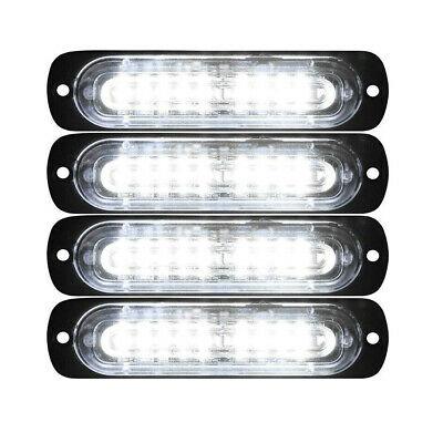 4pcs 10 LED Strobe Lights Emergency Flashing Warning Beacon White 12V 24V