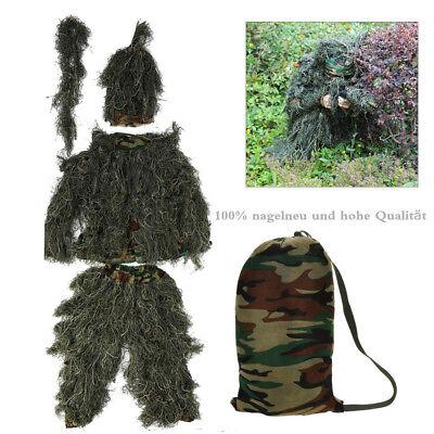 5 Teilig Tarnanzug Anzug Ghillie Suit Jagd Sniper Woodland mit Waffe Abdeckung