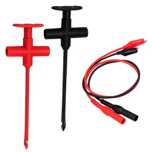 Test clip set insulation piercing red black banana + alligator clip test leads