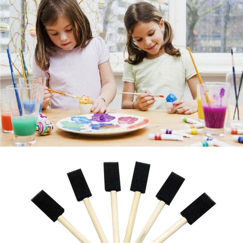 5Pcs Foam Brush Sponge Wooden Brushes Watercolor Painting Dr