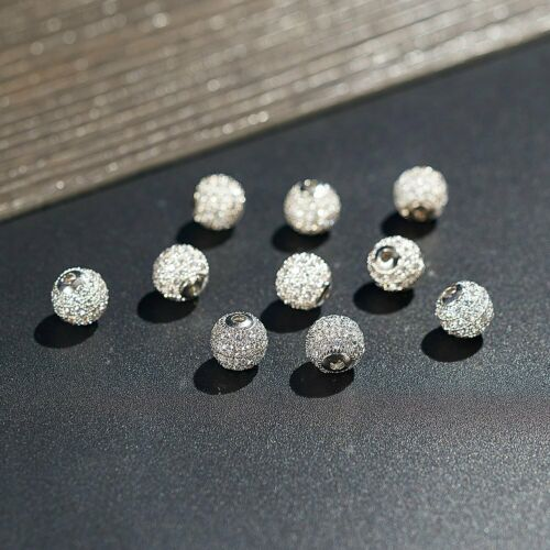 10Pcs 8mm Brass Clear Silver Crystal CZ Pave Micro Disco Bal