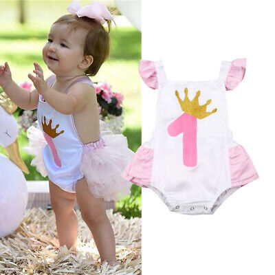 US Newborn Baby Girl 1st Birthday Ruffle Romper Bodysuit Jumpsuit Outfit Set