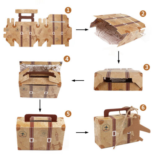 100x Wedding Favor Mini Suitcase Gift Box Kraft Paper Candy Boxes Party Supply