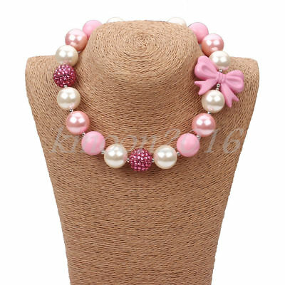 New Pink Bow Chunky Beads Bubblegum Necklace for Kids Christmas Gift - Pink Gifts
