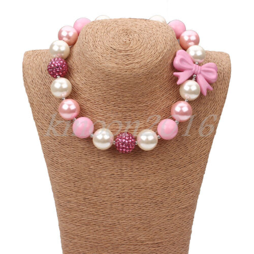 New Pink Bow Chunky Beads Bubblegum Necklace for Kids Christ