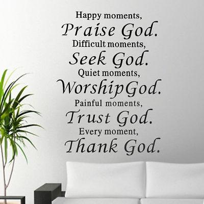 Wall Quote Decor Vinyl Decal Home Art Sticker Christian Praise God DIY Lettering