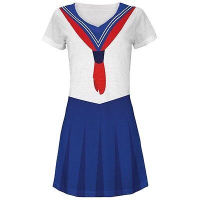 Halloween Anime School Girl Costume Juniors V-Neck Beach Cover-Up Dress (Halloween Anime Girl Dress Up)