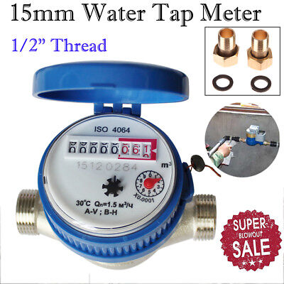 """360°1/2"""" 15mm Water Flow Measuring Meter Copper Cold Dry Counter for Home Garden"""