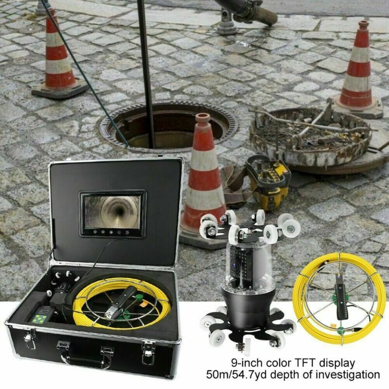 """9"""" 360° Pipe Borescope System Camera Rotate IP68 38LED Sewer Inspection Drain"""
