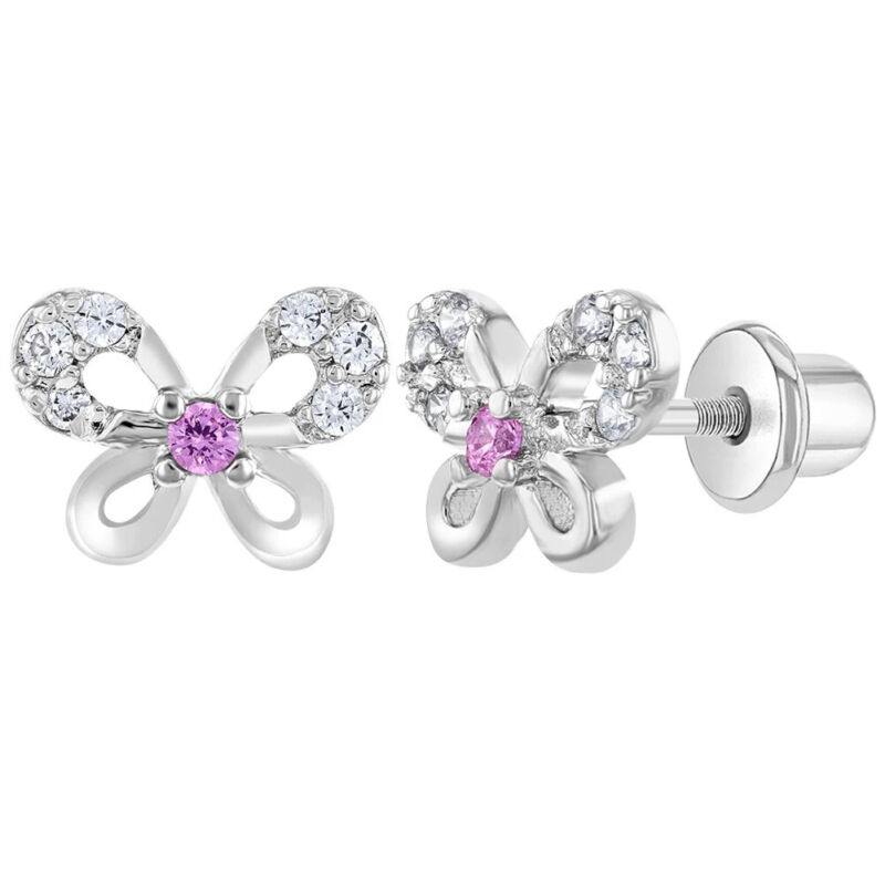 Rhodium Plated Clear and Pink CZ Butterfly Screw Back Earrings for Toddler Girls