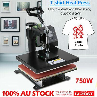 """AU 12"""" High Heat Press Machine T-shirt Uniform Heating Transfer DIY 750W 0-200CC"""