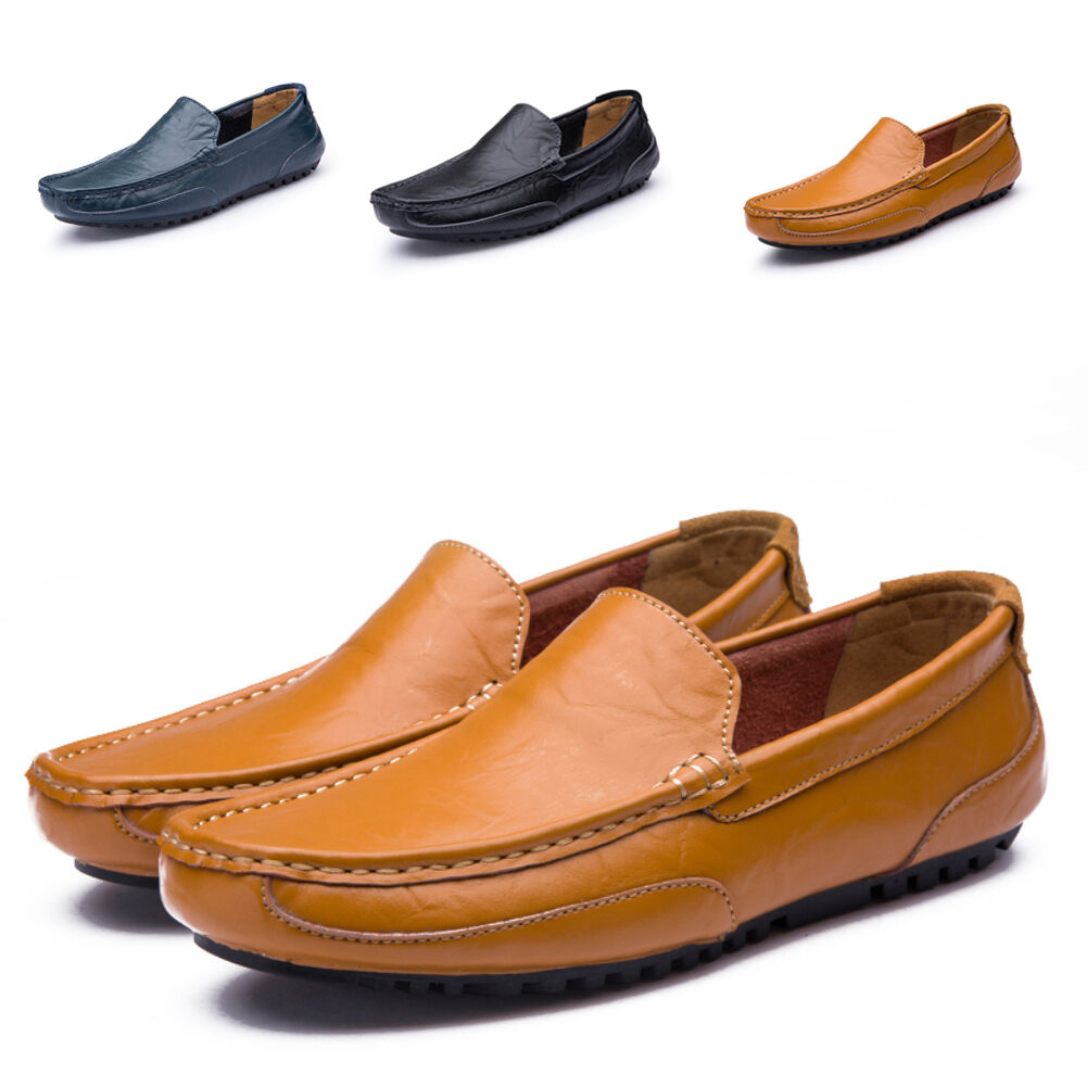 Men/'s Driving Leather Casual Shoes Antiskid Loafers Slip on Moccasins Trainers
