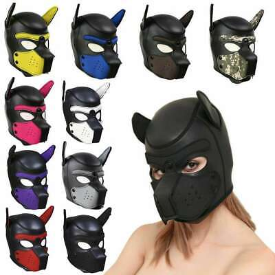 Dog Mask Leather (Leather Full Head Dog Mask Dog Role Play Restraints Hood Puppy Cosplay)