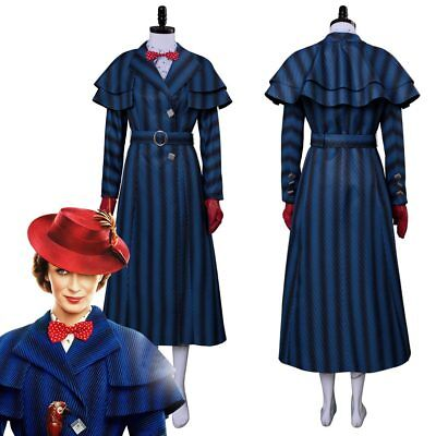 Children's Mary Poppins Halloween Costume (Adult Kid Mary Poppins 2 Cosplay Costume Christmas Blue Halloween Suit Full)