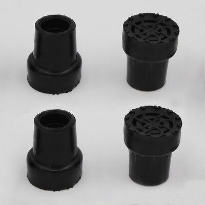 4PCS Walking Stick Cane Pole Pin Crutch Rubber Cap Metal Ferrule End Bottom 19mm ()