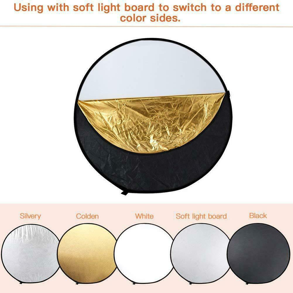 Light Reflector 10 Pcs 5-in-1 Collapsible Soft Light Five Colors Foldable Photography Background Board 60cm Multi-Disc Light Reflector Gold Silver Black White for Studio or Any Photography Situation